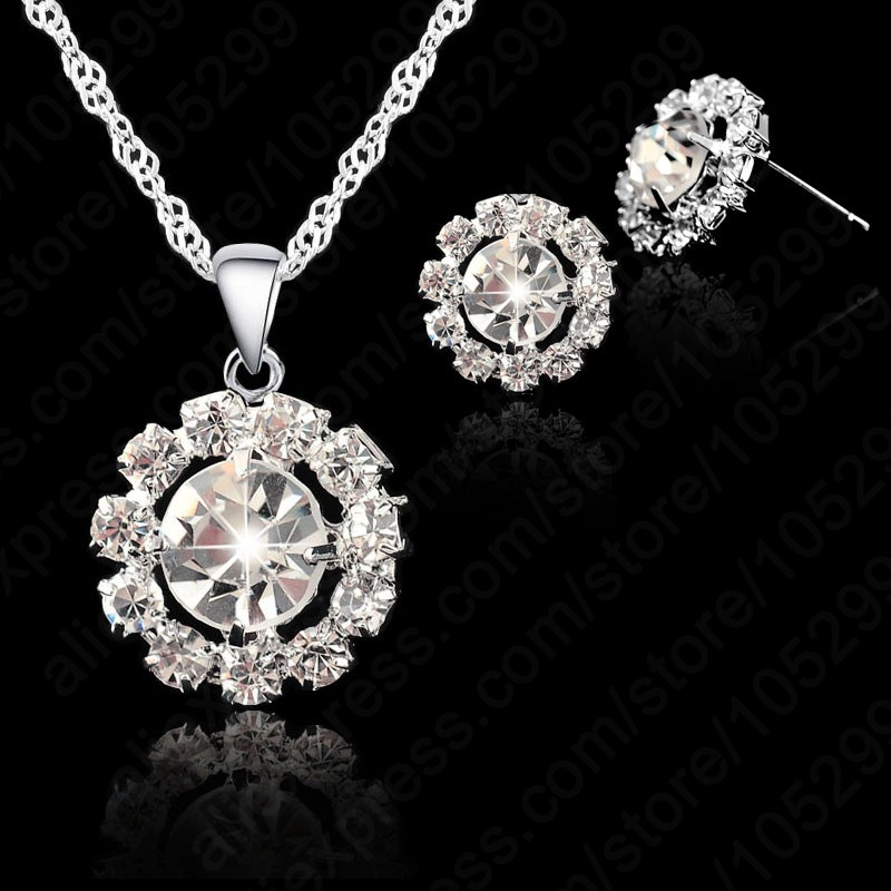 Exquisite Women Wedding Jewelry Set 925 Sterling Silver Platinum Plated Swiss Zircon Necklace Earring Bridal - Online Store store