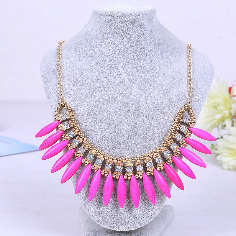 Pink Ethinc Vintage Style Jewelry Luxury Bohemian Simulated Diamond Turquoise Women Statement Choker Necklace & Pendants A387(China (Mainland))