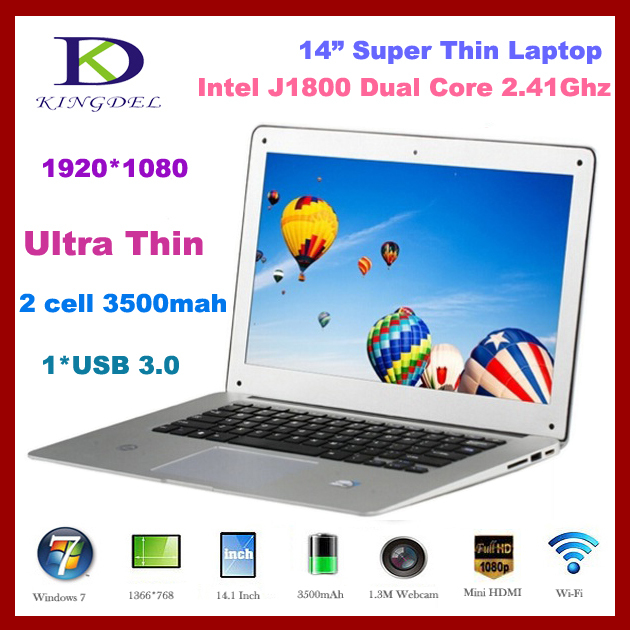 Free Shipping 14 1 Laptops Ultra Slim Notebook Computer Intel Celeron J1800 Dual Core CPU 8GB
