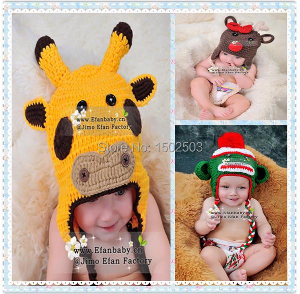 2015 fashion funny animal baby beanie handmade crochet newborn hats(China (Mainland))