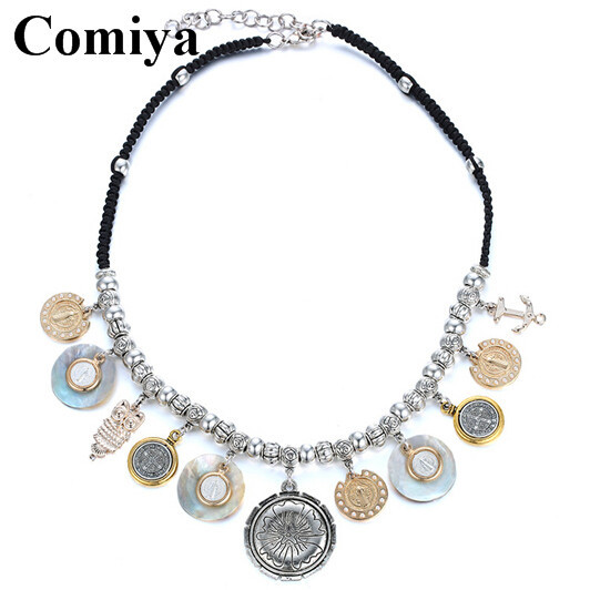 2015 Fashion Hot Summer Jewelry Sea Shell and ccb Charm Pendant trency Necklace for girl silver Chain Statement Choker Necklaces(China (Mainland))
