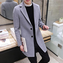 2017 New Long Trench Coat Men Windbreak Winter Fashion Mens Overcoat 40% Wool Quality Thick Warm Trench Coat Male Jackets(China (Mainland))