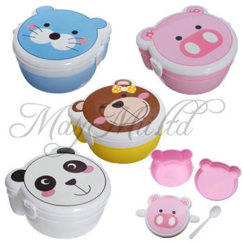 Free shipping 5pcs/lot Fashion Cute Cartoon Kid's Combined lunch box plastic Bento Box pig/cat/frog/beer gift for children