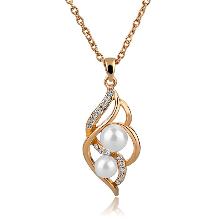 New Hot Antiqued Pendant Necklace Gold Plated Chain Necklace Austrian Crystal Pearl Necklace For Women Wedding