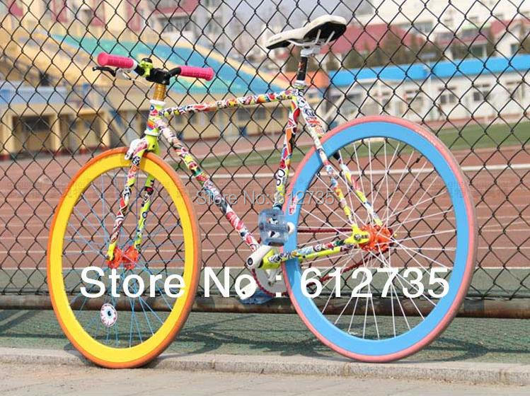 2014 Hot Sale Time-limited The Whole Body Oil Type Tips Glue Sticker Car Covers 56 Pcs Car Pvc Sticker Funny Bicycle Frame(China (Mainland))