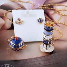 Timeless Wonder Chic enamel tea time teapot pendant Necklace Designer party gown gift classy sassy trendy new limited in 1429(China (Mainland))