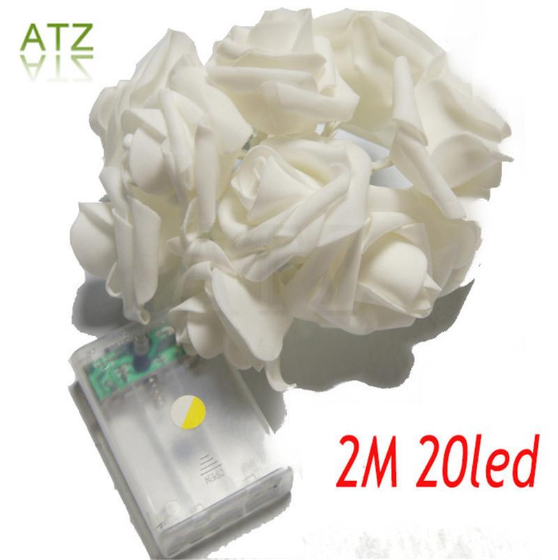 Events and Parties 2M 20LED Rose LED String Lights Battery Wedding Birthday Decoration Lightings Rose LED Guirlande Lumineuse(China (Mainland))