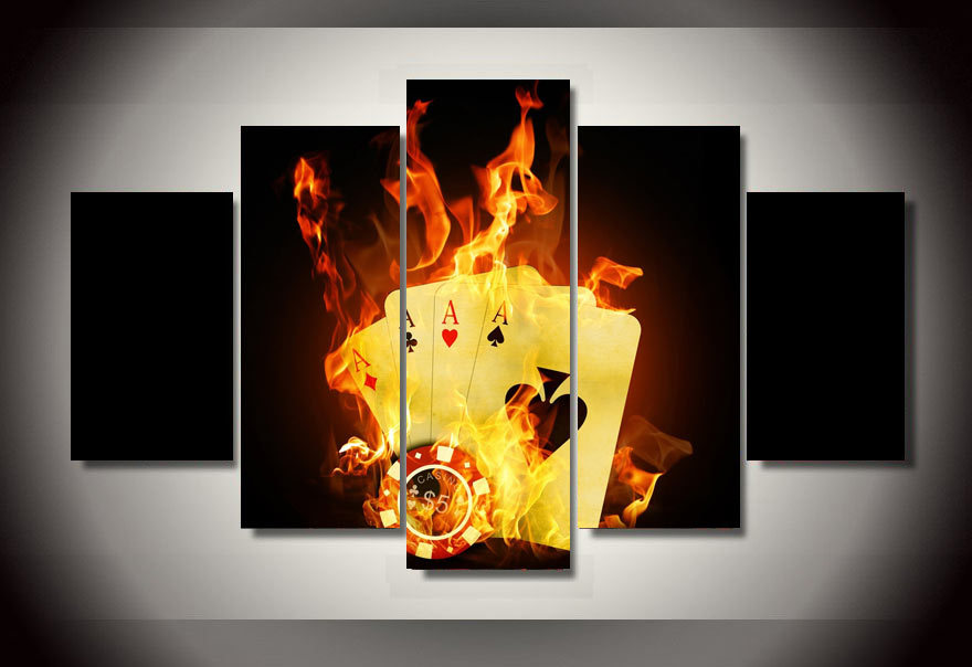 Framed Printed poker Flame Painting on canvas room decoration print poster picture canvas framed Free shipping/ny-991(China (Mainland))
