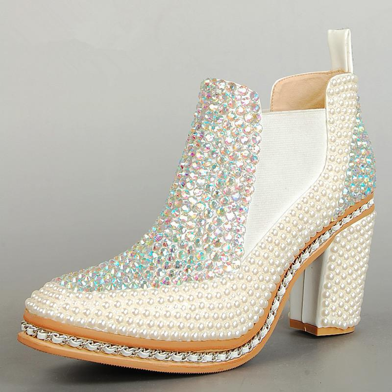 wedding shoes fashion ivory pearls dress shoes round toe genuine leather chunky heels shoes boots for women crystal ankle boots<br><br>Aliexpress