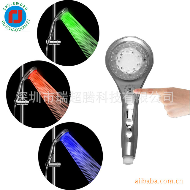 Free shipping LED Shower Head Sprinkler 3 colors showerhead  Sprinkler Temperature Sensor  control button self power