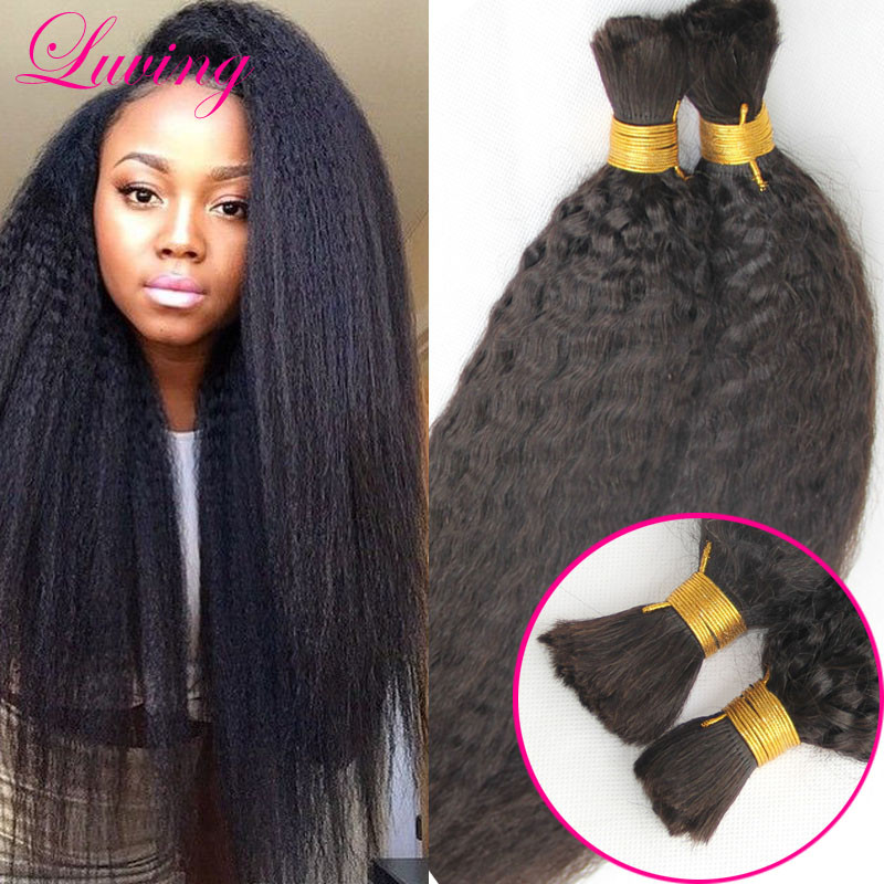 Afro Kinky Bulk Hair For Braiding Human Braiding Hair Bulk Unwefted Mongolian  Kinky Straight No Attachment Crochet Braids Hair