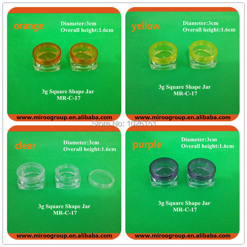 Fedex Free Shipping 300pcs 3g jar empty cream pot 3g Square Jar Transparent Sample Small Plastic