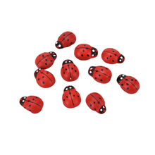 10Pcs/pack Wooden Ladybird Ladybug Sticker Children Kids Painted adhesive Back DIY Craft Home Party Holiday Decoration Red(China (Mainland))