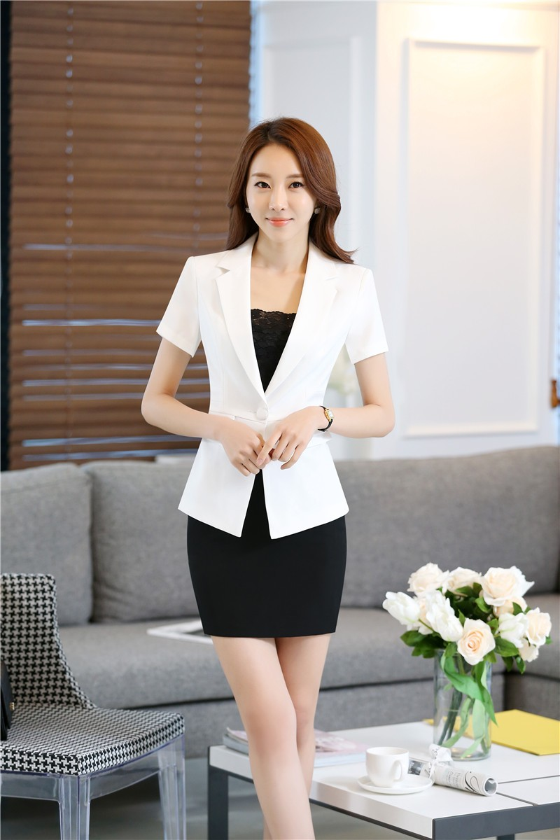 New Professional Summer Short Sleeve Ladies Work Suits With Jackets And Skirt Novelty White Business Women Beauty Salon Outfits