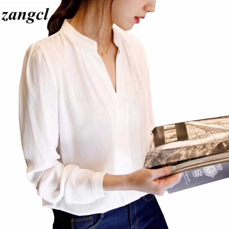 Zangcl Casual White Women Blouse Ladies Solid Elegant V-neck Blouses Long Sleeve OL Office Shirt Plus Size