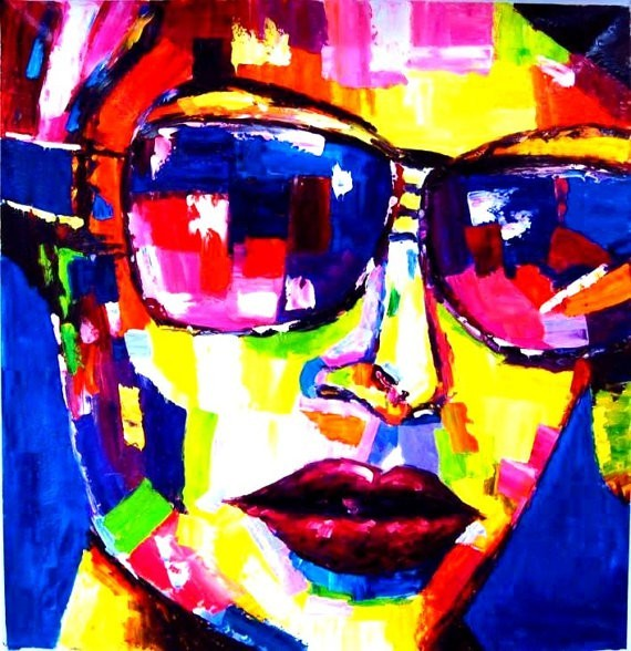 Handpainted Modern Abstract Oil painting Fashion Lady with Glassed On Canvas Portraits Wall Pictures Wall Art Pictures(China (Mainland))