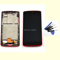 Red LCD touch screen  digitizer assembly with frame for LG Google Nexus 5 D820 D821+Free Tools, free shipping!!