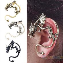 Retro Vintage Black Silver Bronze Punk Temptation Metal Dragon Bite Ear Cuff Clip Wrap Earring Earrings Wholesale Sale 05IA(China (Mainland))