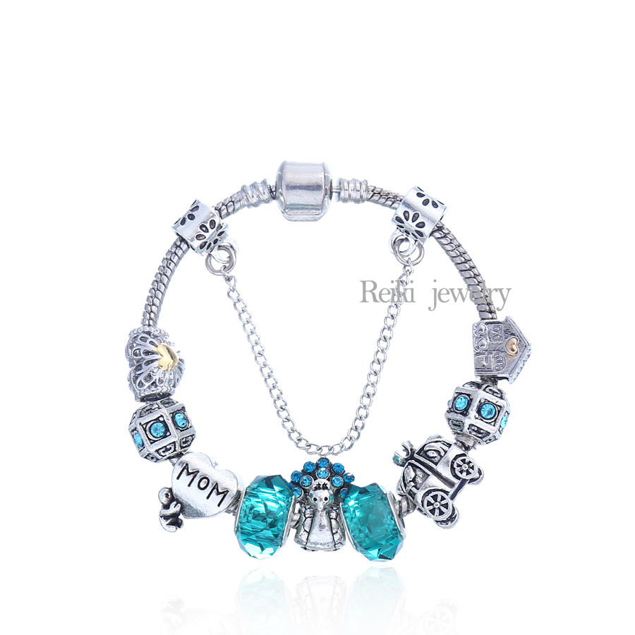 2016 New 925 Silver Pink Flower And Love Beads Charms Bracelet Fit Original Charms  Bracelet Jewelry