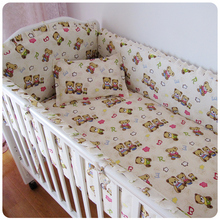 Promotion! 6PCS Bear 100% Cotton Baby Nursery Cot Crib Bedding Set Crib Bumper, include (bumpers+sheet+pillowcase)