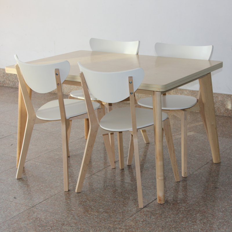 Ikea style birch dinette table chair dining table and four for Four chair dining table