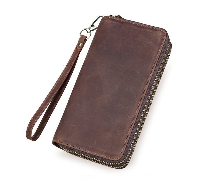 2015 New retro personality Mens long Wallet High Quality Card Holder Fashion crazy horse Leather Wallet For Men moneyclips(China (Mainland))
