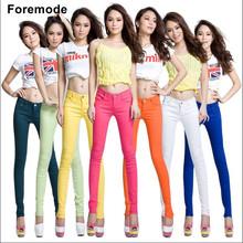 Foremode Boutique de Doces Coloridos das Mulheres do  Feminino Calça Jeans Skinny Cor Sólida Stovepipe Lápis calças de Brim das mulheres calças de brim 15 cores