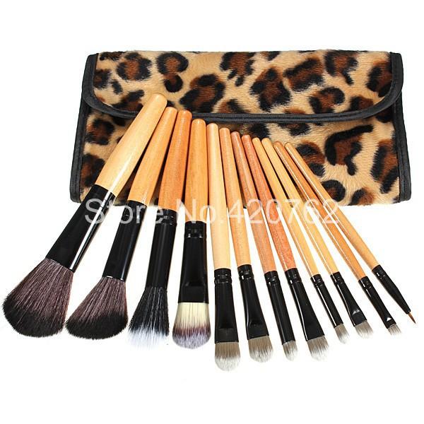 12X Leopard Cosmetic Makeup Brush Foundation Eyeshadow Lip Set Pouch Leather Bag Make Up Brushes(China (Mainland))