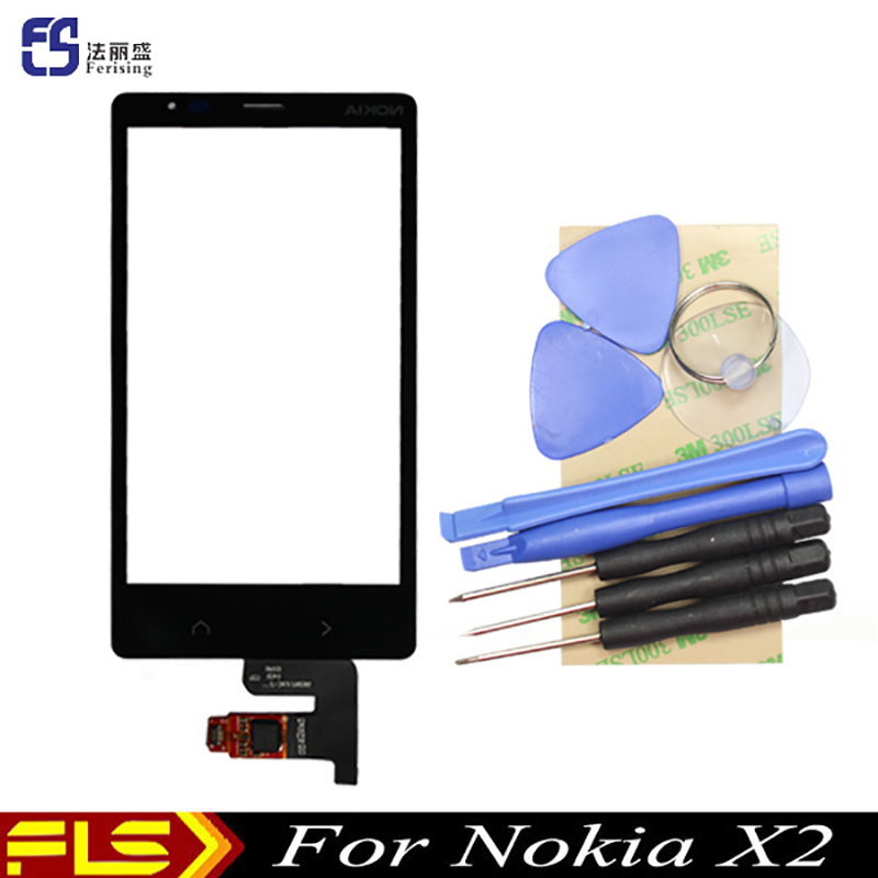 Original New For Nokia X2 X2DS 1013 smartphone touch Screen Digitizer Front Touch Panel Glass Sensor Replacement + tools