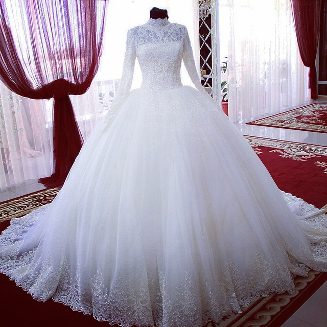 2015 new high neck long sleeve pearls beading lace wedding for Modern long sleeve wedding dresses