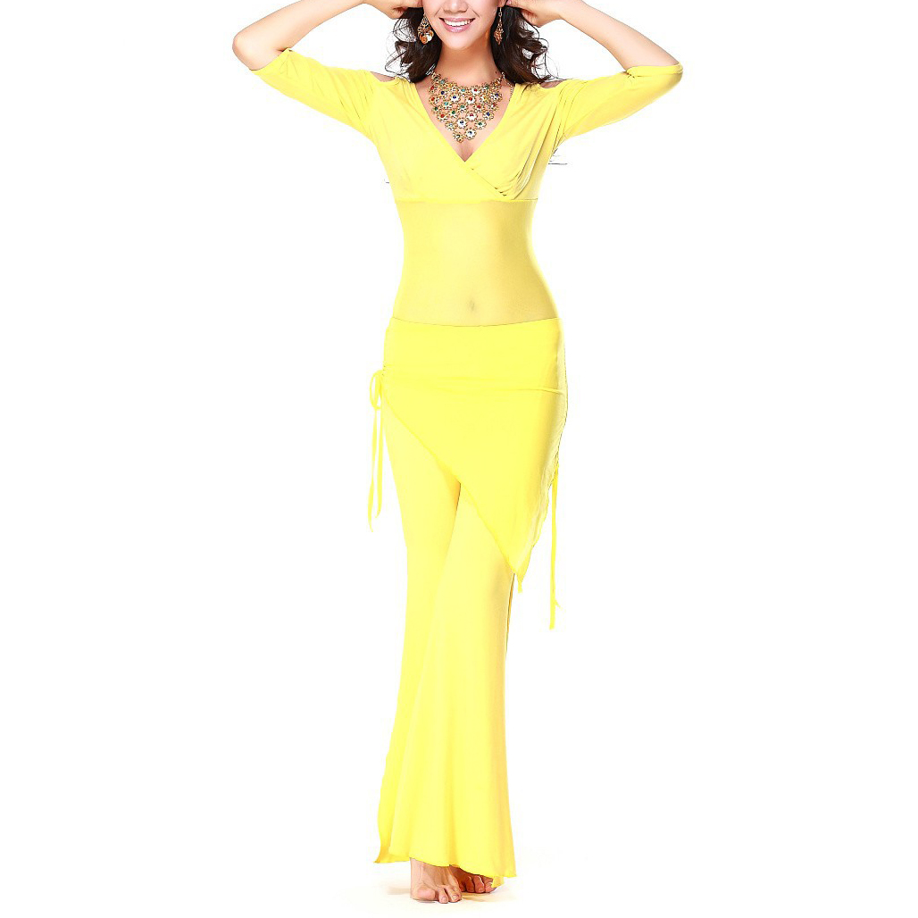 5 x (Belly dance costume sexy short sleeves top+milk silk waist pants 2pcs/suit for belly dancing set (yellow)Одежда и ак�е��уары<br><br><br>Aliexpress