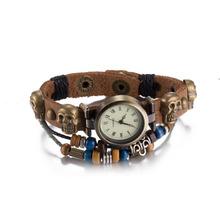 Relogio Feminino Popular Vintage Lady Leather Bracelet Wristwatches Fashion Skull Charm Bracelet Women Dress Watch Mens Pulsera(China (Mainland))