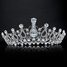 Oversize Crystal Bride Hair Accessory Wedding Tiaras And Crown For Sale Rhinestone Pageant Crowns Head Jewelry Hair Ornament(China (Mainland))