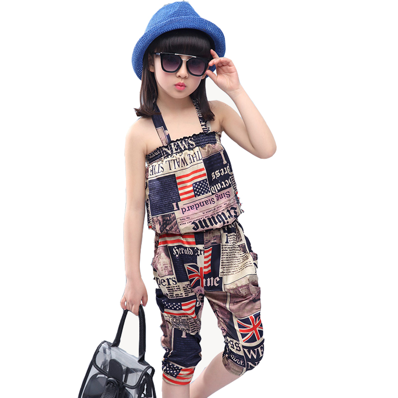 Kids 2016 fashion girl summer sets for baby two-piece children sleeveless tops + haroun pants suit 6 -14 years children clothing(China (Mainland))