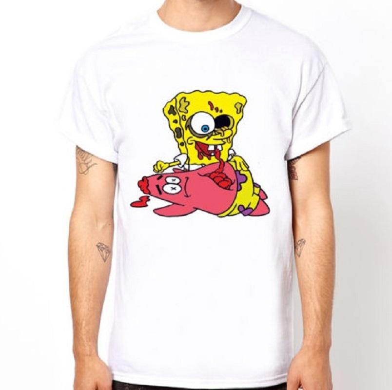 Men's White T-shirt Spongebob Zombie GAME OVER Design Fashion Top Party Humor Funny Cartoon Casual Tee Shirt Euro Size S-3XL(China (Mainland))