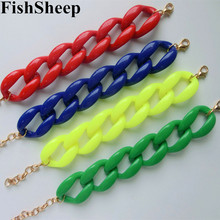 Buy Fishsheep New Fashion Acrylic Chain Link Bracelet Women Men Bohemian Colorful Cuff Wristband Bracelets & Bangles Jewelry for $1.50 in AliExpress store