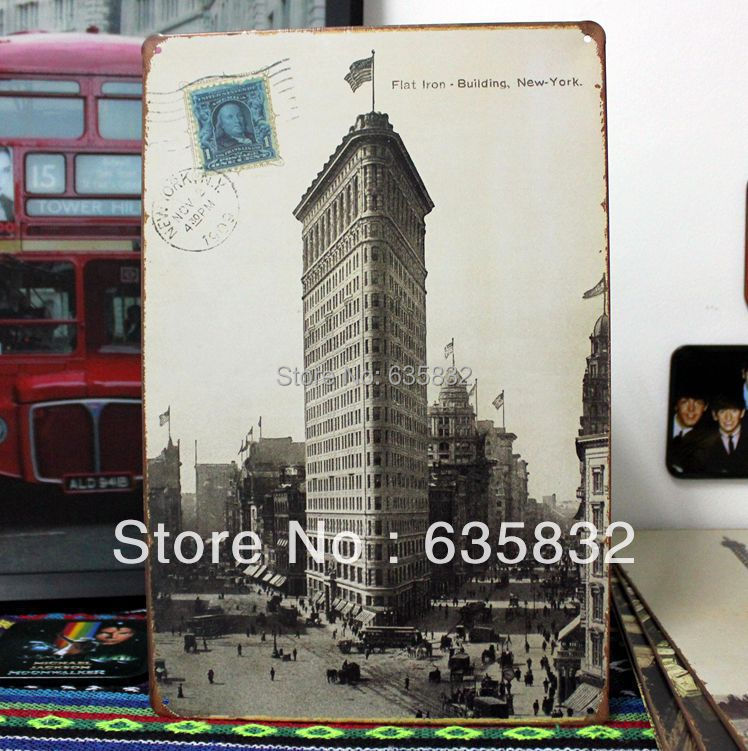 20 30cm Flat Iron Building New York Usa Vintage Tin Signs Stamp Bar Decor Metal Painting Home