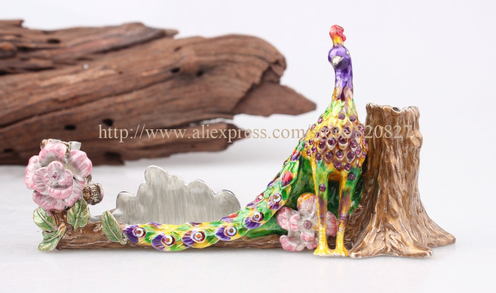 Metal Jeweled Peacock Desk Desktop Business Card Holder Stand Jeweled Peacock Bird Display Trinket Small Treasure Holder Case(China (Mainland))