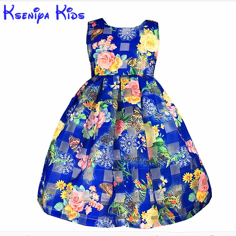 Free Shipping New 2016 Casual Girl Dress Flowers High Quality Sleeveless Princess Girl Dress Blue Kids Clothes 2-10y Zk0705(China (Mainland))