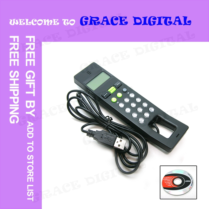 COMPETITIVE PRICE 20PCS/LOT USB LCD Internet VoIP Skype Phone PC Handset Telephone Black#BDN403(China (Mainland))