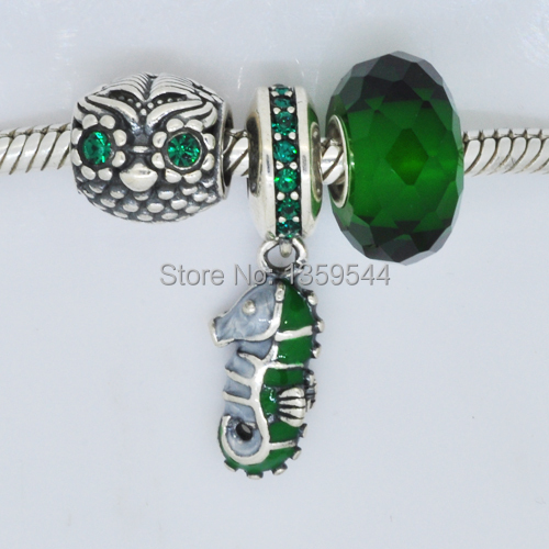Everbling 3pcs !!!925 Sterling Silver Wise Owl Sea Horse Emerald Crystal Charm Beads Set Fits Pandora European Charms Bracelet(China (Mainland))