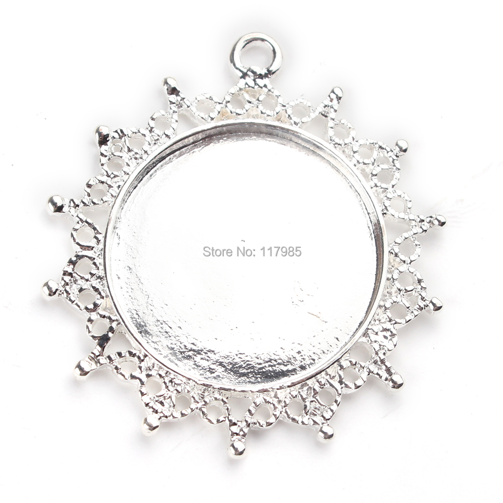 New 2014 50pcs Round Zinc Alloy Snowflake Cameo Cabochon Base Settings Pendants 40mm(inner 25mm) Metal Silver Plated Glass Domes