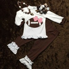 2015 girls football outfit clothing sets girls ruffle pant sets baby girls boutique clothes with necklace and bow(China (Mainland))