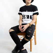 Cool Swag Hip Hop Jeans Destroyed Distressed Knee Leg Zippers Jeans Pants For Skinny Men