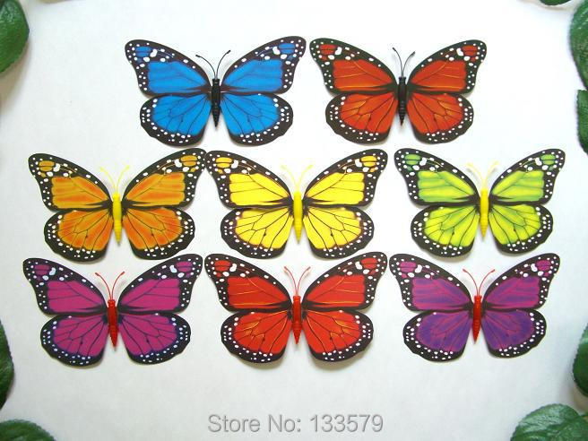 50 Pcs Wingspan 4.7'' Fake Artificial Monarch Viceroy 3d Pin Butterfly DIY Wall Stickers Home Door Window Furniture decoration(China (Mainland))