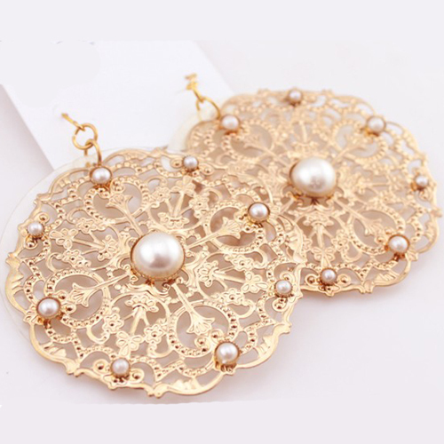 Supply graceful fashion gold round pearl exaggerated drop earrings party anniversary
