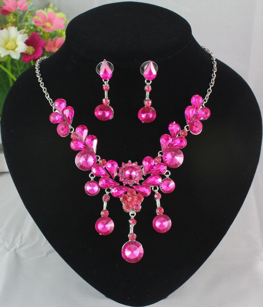 Free shipping new arriver fashion earrings necklace jewellery set silver plated crystal jewelry sets(China (Mainland))
