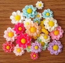 50 Resin Flower Flatback Cabochon Scrapbook Fit Embellishments Mixed Size/Color