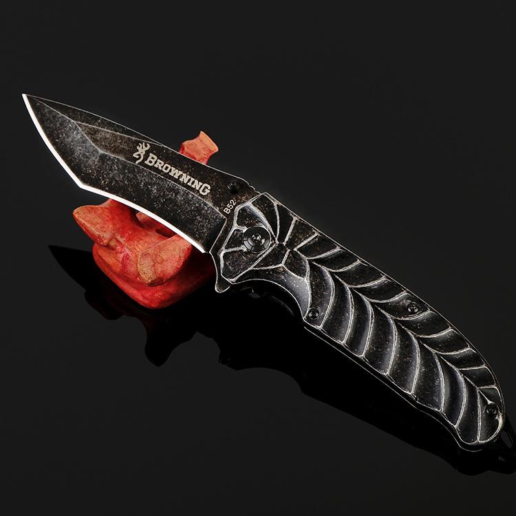 Cold Steel Folding Black Blade Knife 23cm Utility Camping Knife Steel Hanlde Portable Hunting Knives Tactical