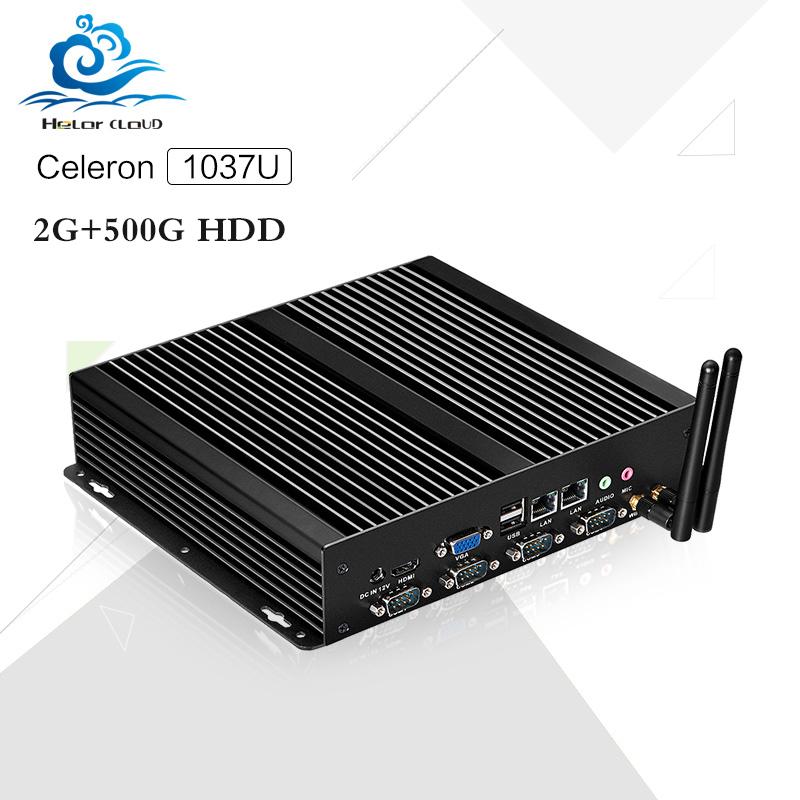 X26-1037G 4*com 2* lan port C1037U 2G RAM 500G HDD linux computers cheap fanless computer case linux micro pc(China (Mainland))